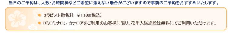 セラピスト指名料¥1,000